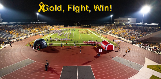 Thank you to the more than 9,000 people who attended the #GoldFightWin AHS vs. KHS varsity football game and helped raise awareness for pediatric cancer. Take a look back at photos from the night at  https:// bit.ly/2lU8Yn5     .<br>http://pic.twitter.com/ieb1edmBRG