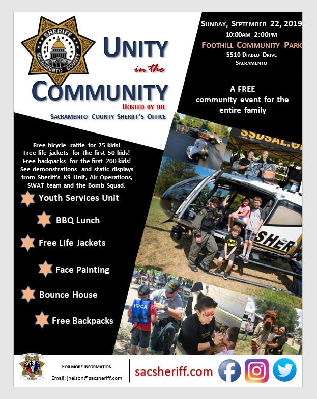 Unity in the Community, Sunday, September 22nd @ Foothill Community Park 10am–2pm. Don't miss out on free backpacks, life jackets & bicycles. There'll be kids' activities, a K9 demo, displays, & a free BBQ lunch. #endofsummer #fun #freegiveaways #community<br>http://pic.twitter.com/b6ozNMgt6J