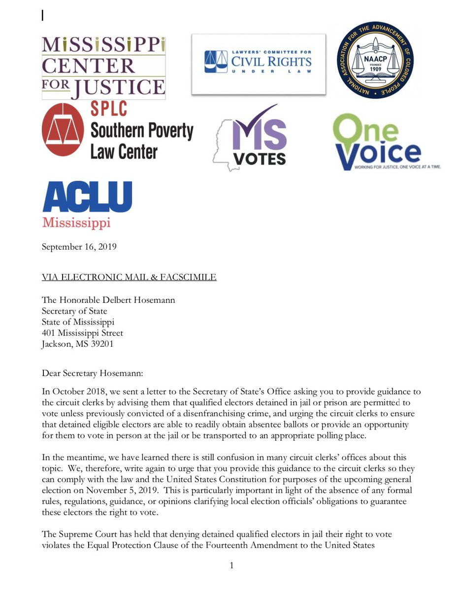 NEW: People detained in jails and prisons who are awaiting trial and have not been convicted of a disqualifying crime, deserve the right to vote in Mississippi.  We are fighting to ensure that detained voters in MS are given access to the ballot box now. #ProtectTheVote https://t.co/p5EnN8VkVm