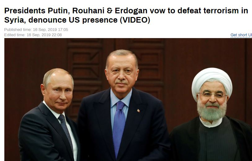 "Russia and Iran box in Turkey, denounce US presence in the region. #Rouhani and #Erdogan both said there had been no ""positive steps"" in working out a role for the United States and so #Russia, #Turkey and #Iran would proceed on their own.<br>http://pic.twitter.com/c1p3oBxhQ0"
