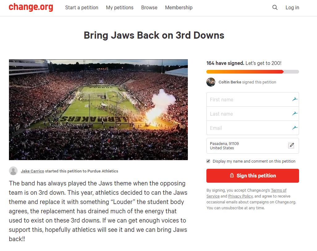 And now there's already a petition for @PurdueBands to bring back Jaws on 3rd down  https://t.co/fuB2GR9bW7 https://t.co/g7IS9NDSVO