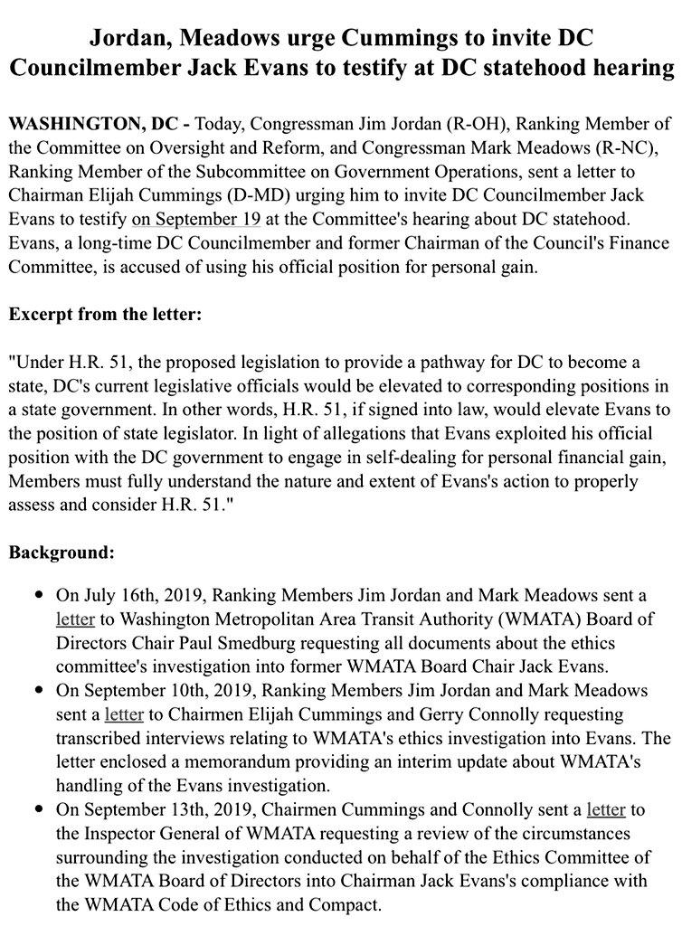 🚨#BREAKING: @Jim_Jordan & @RepMarkMeadows urge @RepCummings to invite Councilmember Jack Evans to testify at DC statehood hearing.   📃Read the letter here: https://republicans-oversight.house.gov/wp-content/uploads/2019/09/2019-09-16-JDJ-MM-to-EEC-re-Statehood-Jack-Evans2.pdf…