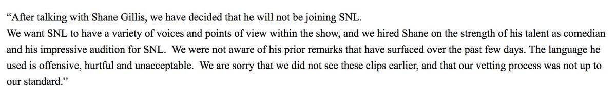 A spokesperson for Saturday Night Live says that Shane Gillis will not be joining its cast this fall.