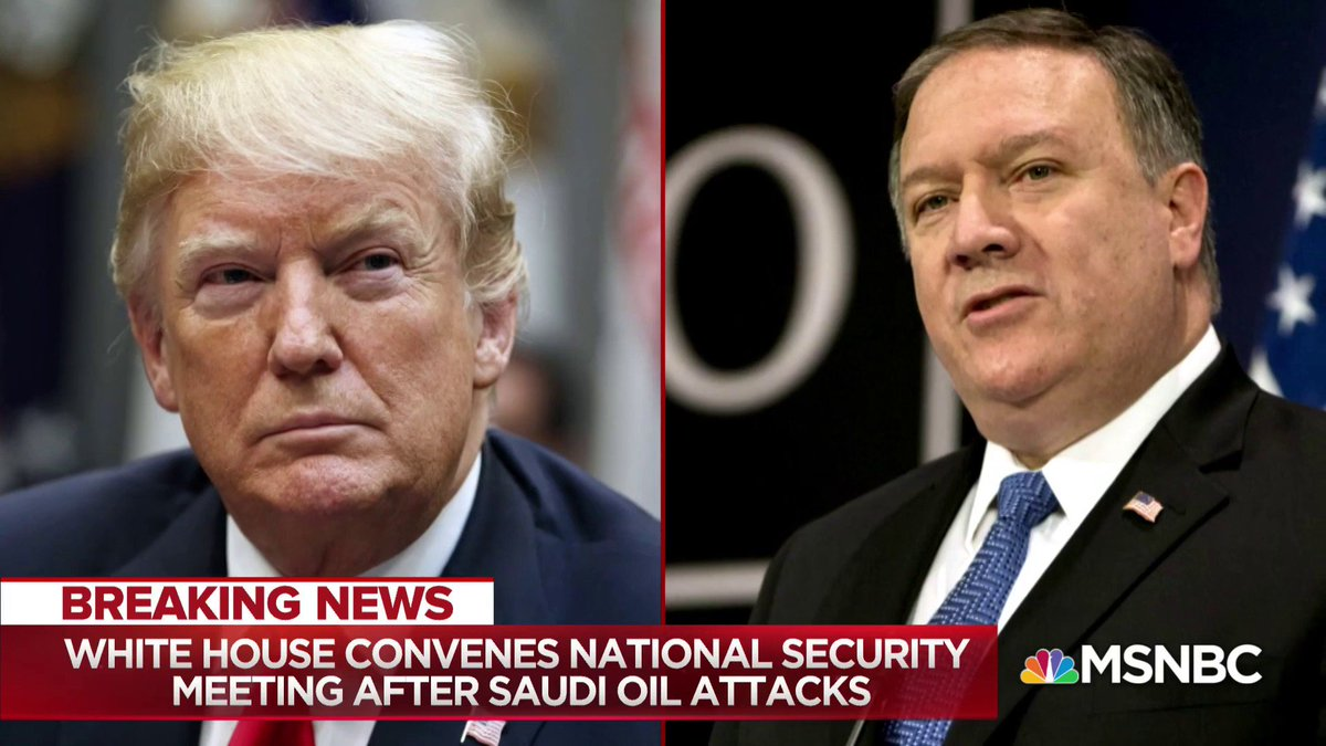 """The White House is facing one of the diciest foreign policy crises of its tumultuous tenure. After a strike in Saudi Arabia over the weekend believed to have been carried out by Iran or Iranian proxies, the White House today finds itself in a corner..."" - @NicolleDWallace https://t.co/tY1t5LkFNA"