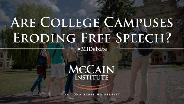 test Twitter Media - Are college campuses eroding #freespeech? Watch LIVE tomorrow at 6 p.m. ET as @mroth78 discusses the topic with other national leaders in the latest in the Debate & Decision Series at the @McCainInstitute: https://t.co/qVZd7v8njg   #MIDebate #SafeEnoughSpaces #ViewpointDiversity https://t.co/Rf4gIexnrI
