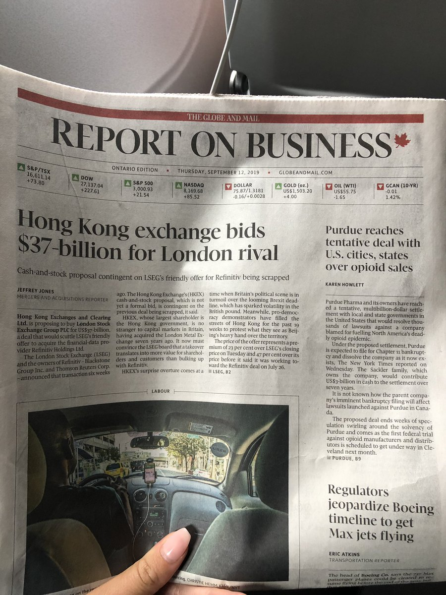 Reading the #globeandmail for the @TorontoObserver. Honk Kong Exchange (HKEX) is owned by the government of Honk Kong and is proposing to buy the London Stock exchange (LSEG) for US $ 37-billion as Britain's political scene (Brexit) has sparked volatility in the British pound. <br>http://pic.twitter.com/pn9BR1fG7x