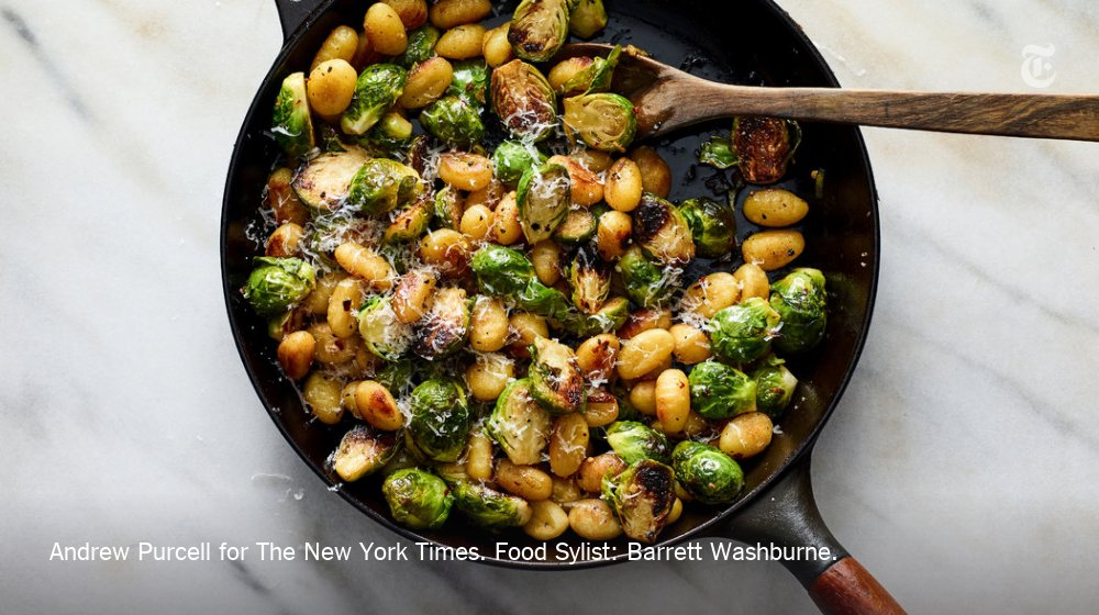 This fantastic meal can be ready in 20 minutes. Toss together seared gnocchi and sautéed brussels sprouts with lemon zest, red-pepper flakes and brown butter and feast. https://nyti.ms/2AknSHn