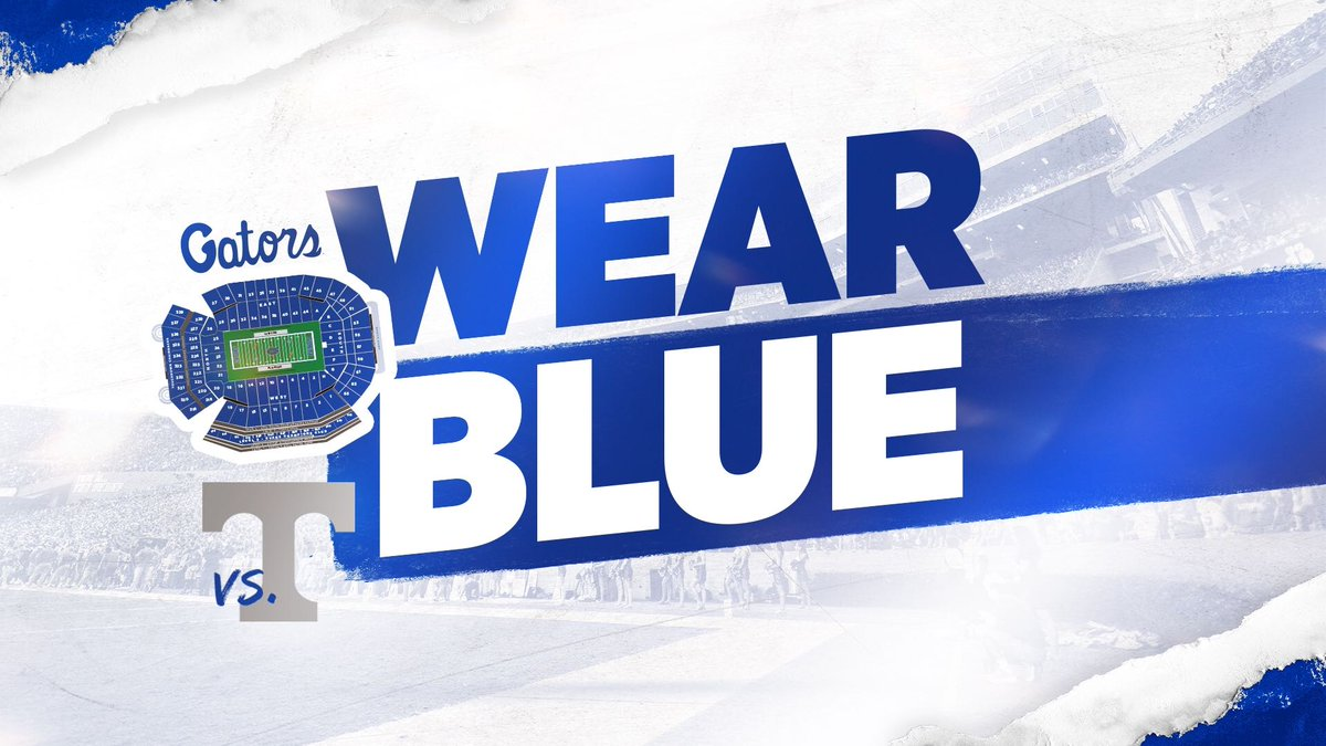 #GatorNation: Make sure to wear blue on Saturday! 🔷 #GatorsWearBlue 🔷 #GatorNation 🔷 #GoGators #TENNvsUF 🐊 #GatorsTogether
