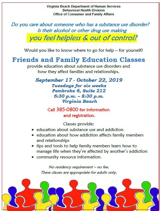 Do you have a loved one struggling with drug or alcohol abuse? The @CityofVaBeach Department of Human Services is offering a FREE class to help! #addiction