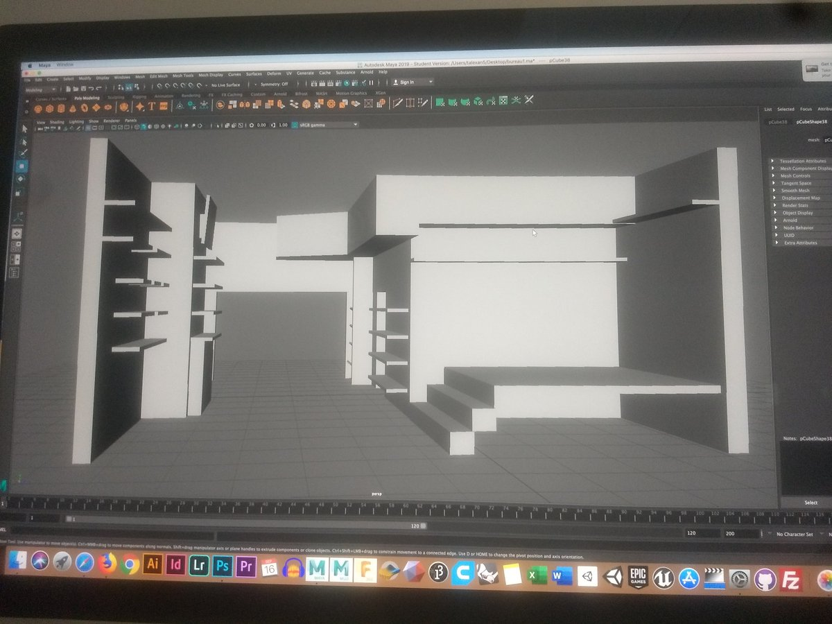 3d modeling the shop for class so I never have to leave ever again and can finally completely lose my mind