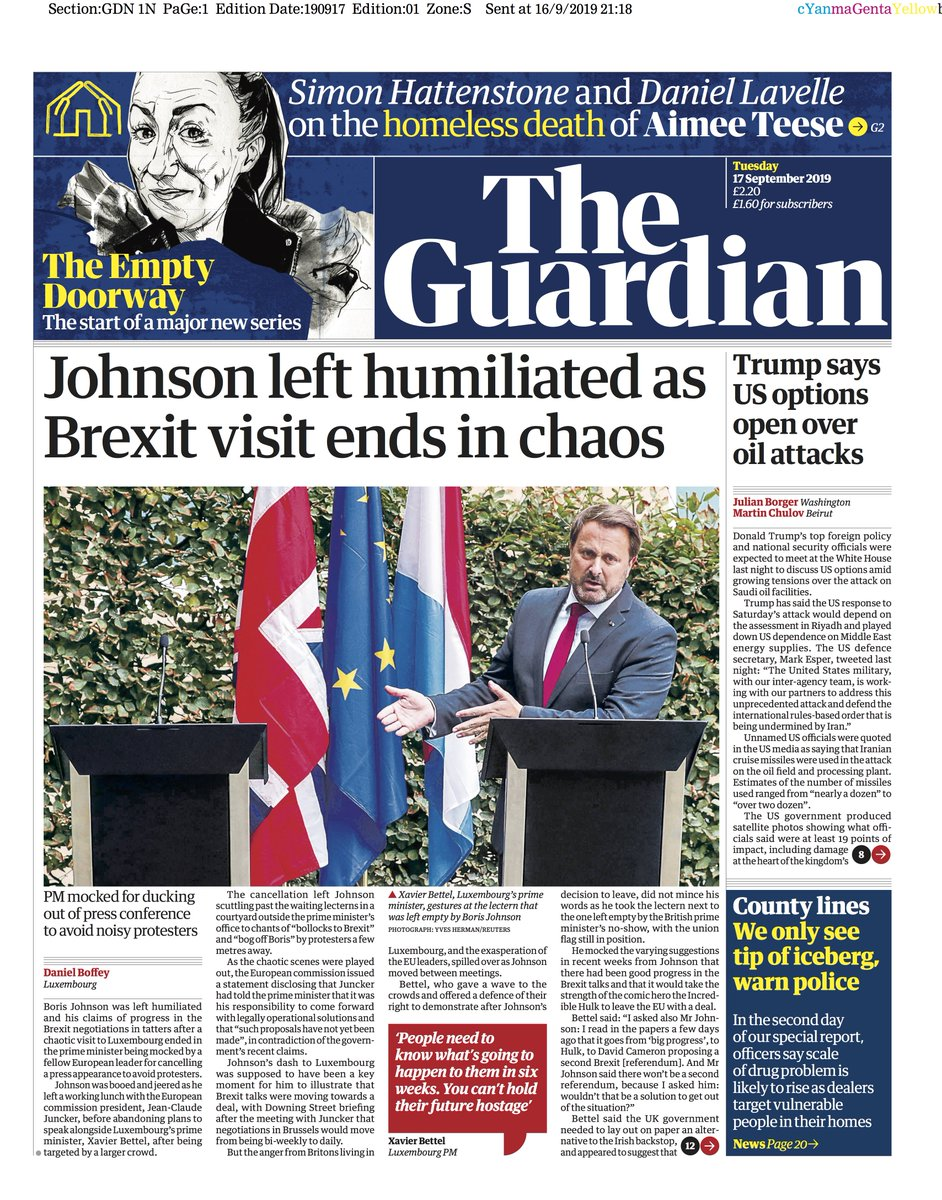 Guardian front page, Tuesday 17 September 2019: Johnson left humiliated as Brexit visit ends in chaos