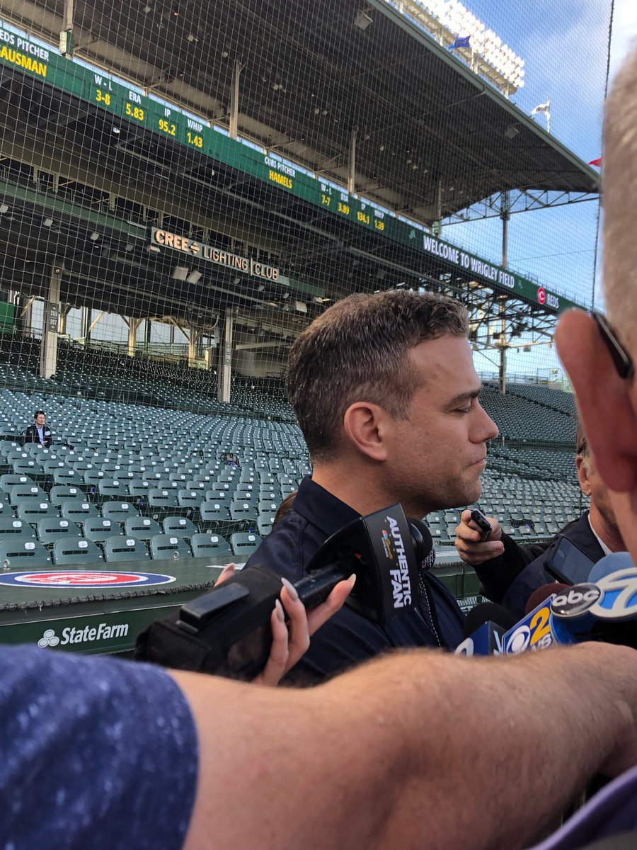"""#Cubs Theo Epstein on Anthony Rizzo: """"We aren't closing any doors but this is a legitimate injury"""" (at less than an ideal time he added) @cbschicago #MLB"""