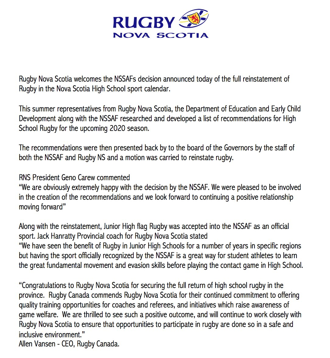 Rugby Nova Scotia reaction to the NSSAF news today of the reinstatement of Rugby.