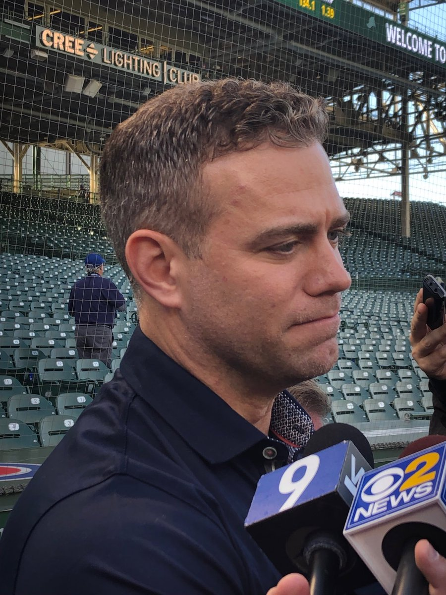 """#Cubs Theo Epstein """"We've put ourselves in a good position these final 2 weeks. We have a high bar. I take things personally if we don't make it."""" @cbschicago #MLB #tvnews"""