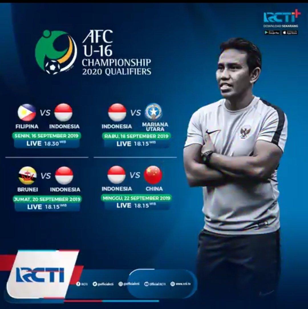 RT @SiaranBolaLivee: Next #AFCU16Qualifiers  INDONESIA vs MARIANA UTARA Rabu 18 Sept 2019 K.O 19.00 WIB RCTI LIVE https://t.co/gG2ncc0xPh