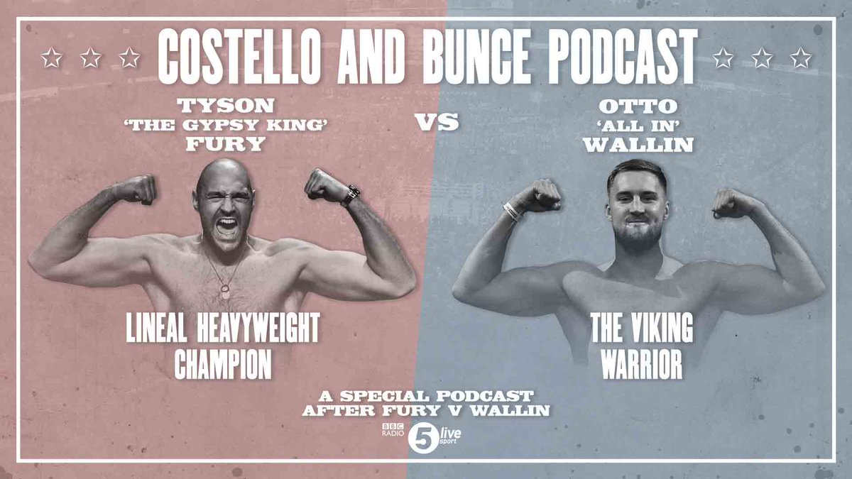 🥊BBC Boxing Podcast 🥊@Tyson_Fury battles through against Otto Wallin despite two deep cuts!Download a special post-fight Costello & @bigdaddybunce podcast now📻📱http://bbc.in/2lVQthX#FuryWallin #CostelloAndBunce