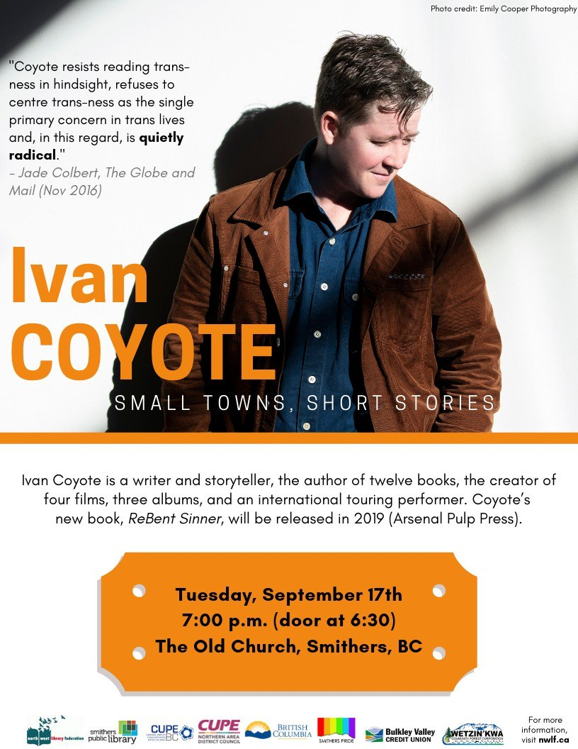 One more sleep until @ivancoyote at the Old Church in Smithers! @smitherspride @CUPEBC