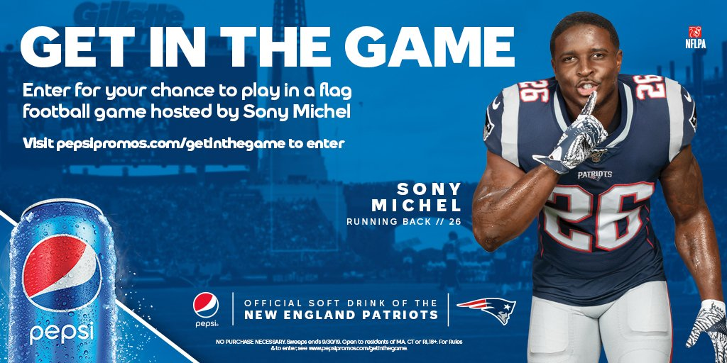 Want to play in a flag football game at Gillette Stadium hosted by me? Grab a Pepsi and head to pepsipromos.com/getinthegame to enter for your chance to win. NO PURCHASE NECESSARY. Rules at bit.ly/pepsisony. MA, CT, or RI, 18+. Ends 9/30/19. #ad
