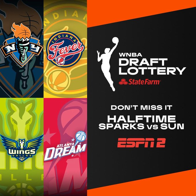 Stay tuned during halftime of the @LA_Sparks 🆚 @ConnecticutSun game on ESPN2 to watch the #WNBA Draft Lottery 202