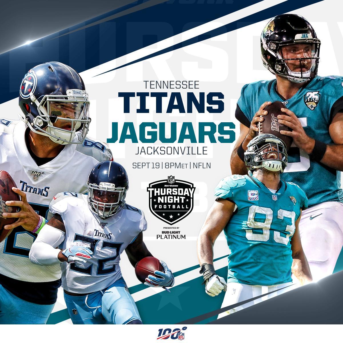 UP NEXT: @Titans vs. @Jaguars on #TNF! #Titans #DUUUVAL 📺: #TENvsJAX   Thursday 8pm ET on @nflnetwork 📱: NFL app // Yahoo Sports app