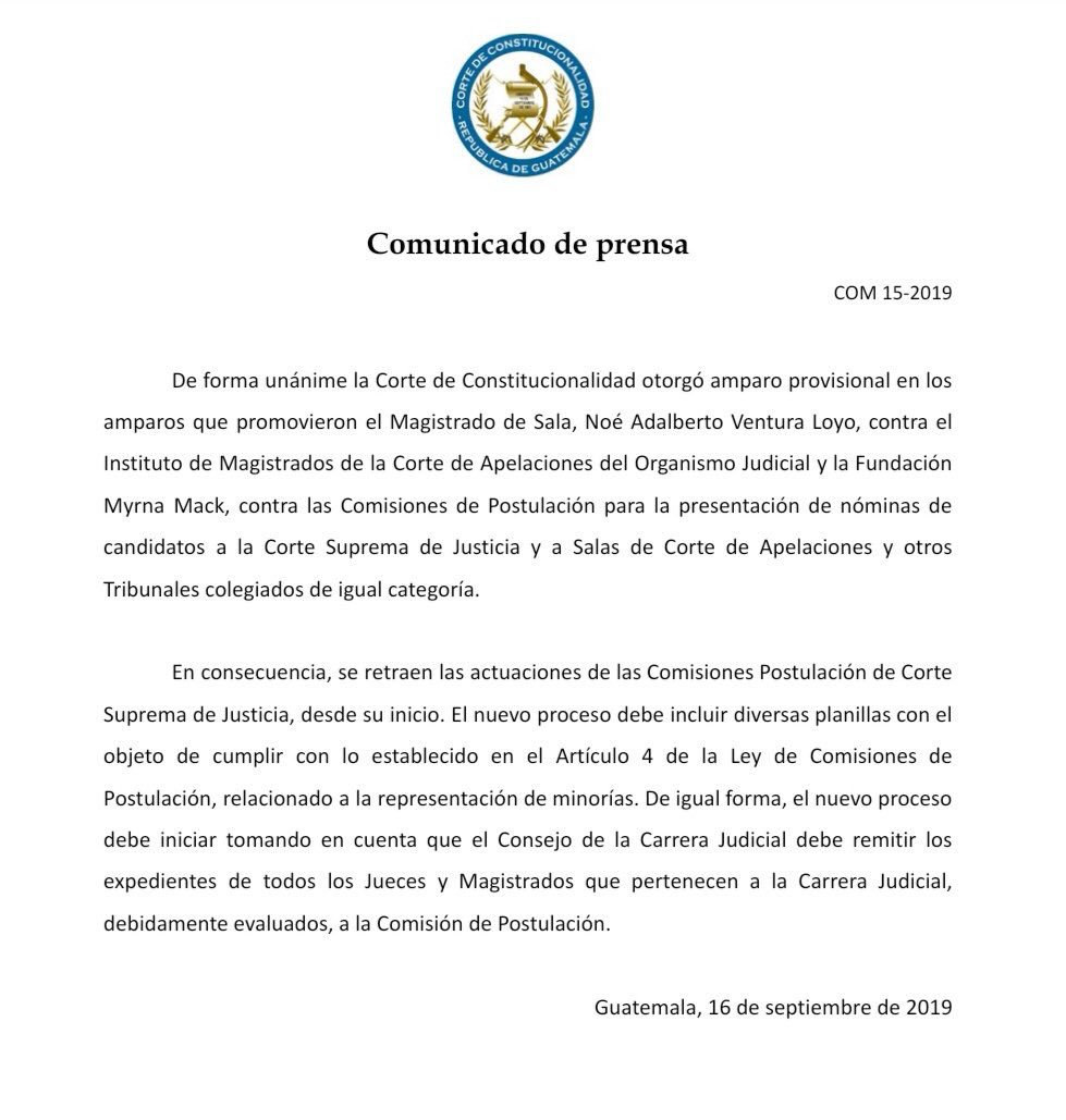 Imagen  Resolución de la Corte de Constitucionalidad (CC) obliga a  reiniciar proceso de Elección de Cortes EEo3NE3WwAAEo B format jpg name medium