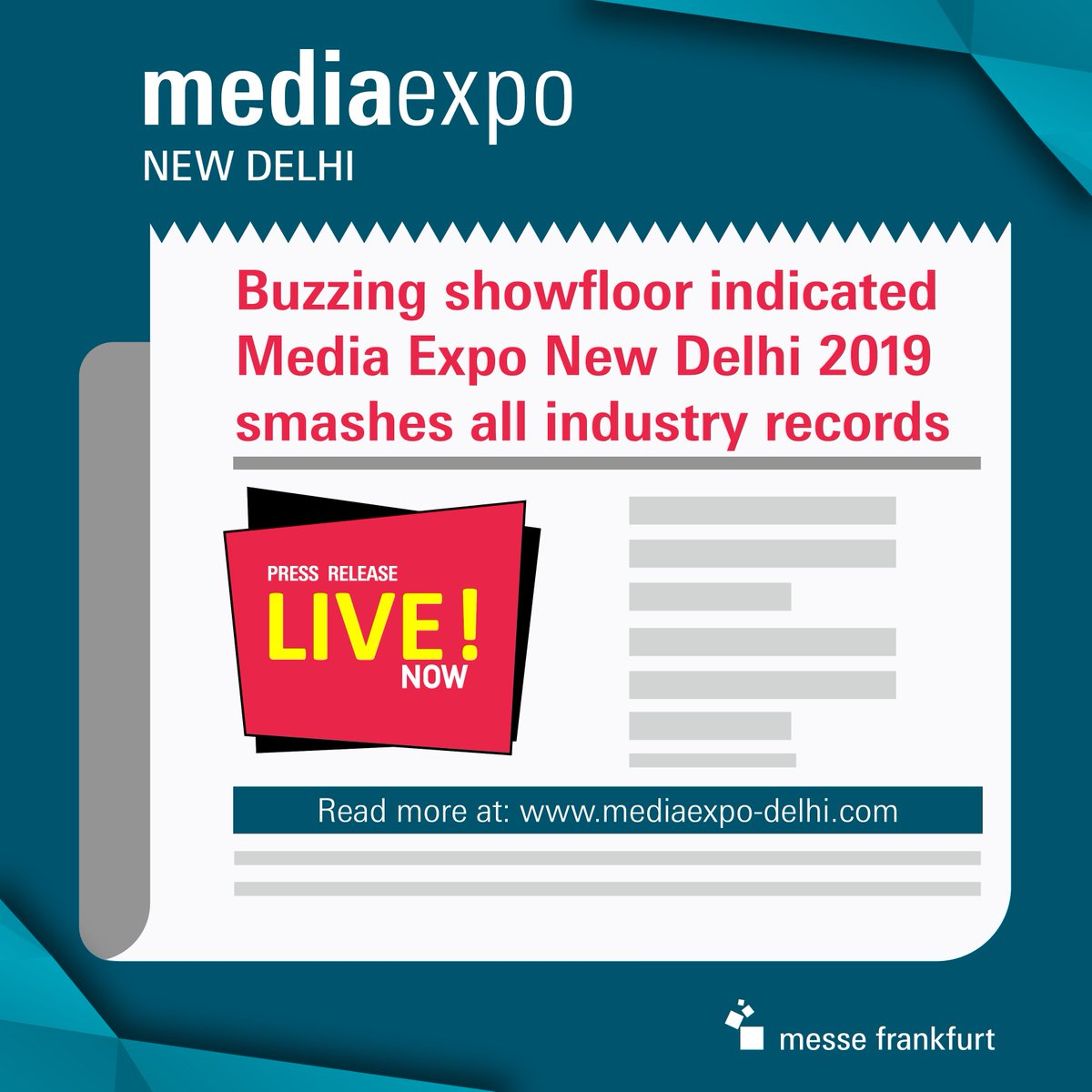 With a staggering 17,711 business visitors packing the showfloor, Media Expo New Delhi 2019 broke all records to be the number one choice for networking and sourcing advertising applications! Read our press release section :  https:// bit.ly/2knc7eS      #MediaExpo #Tradefair<br>http://pic.twitter.com/K89HTJSPGt