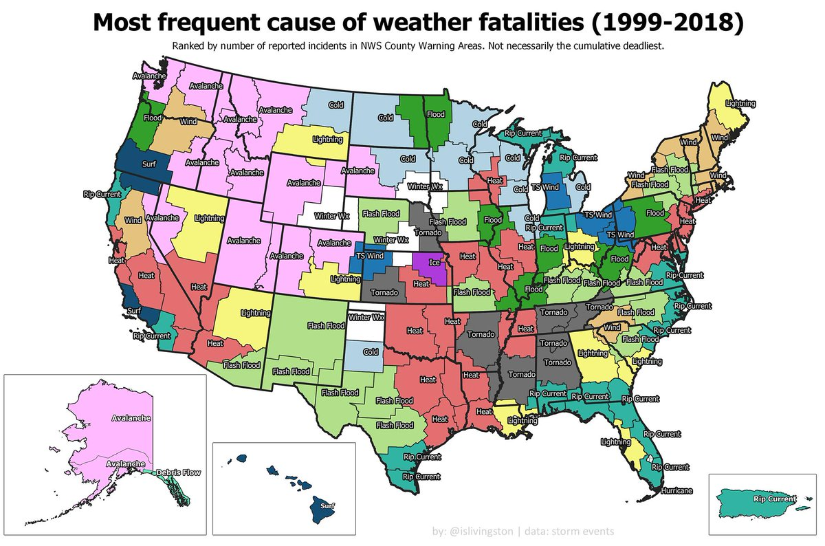 Most frequent cause of weather fatalities by NWS County Warning Area. (Lots of work to do on the project but I found this early look informative and worth sharing as is. Larger version here: imgur.com/gallery/ZQYcIxZ)