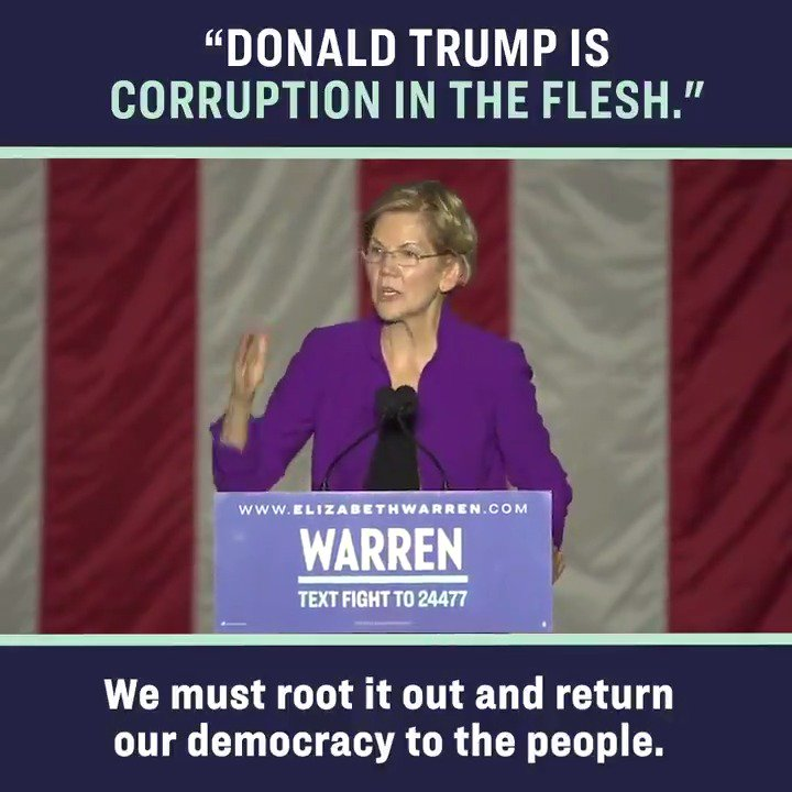 Donald Trump is corruption in the flesh. But our problems didn't start with Donald Trump. A country that elects Donald Trump is already in serious trouble. #WarrenNYC https://t.co/9BYOtFmn1R