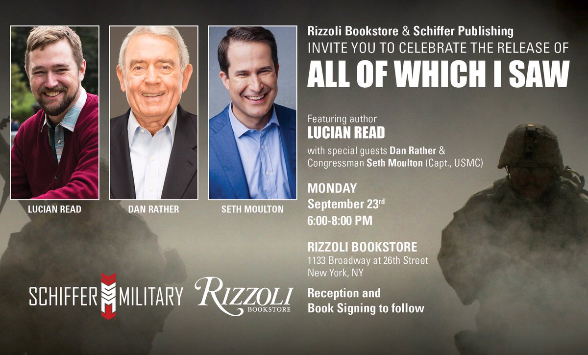 "Join me with @DanRather and photojournalist Lucian Read next Monday in New York City for the release of ""All Of Which I Saw""—a harrowing and important firsthand account of some of the most critical moments of the Iraq war. facebook.com/events/5268263…"