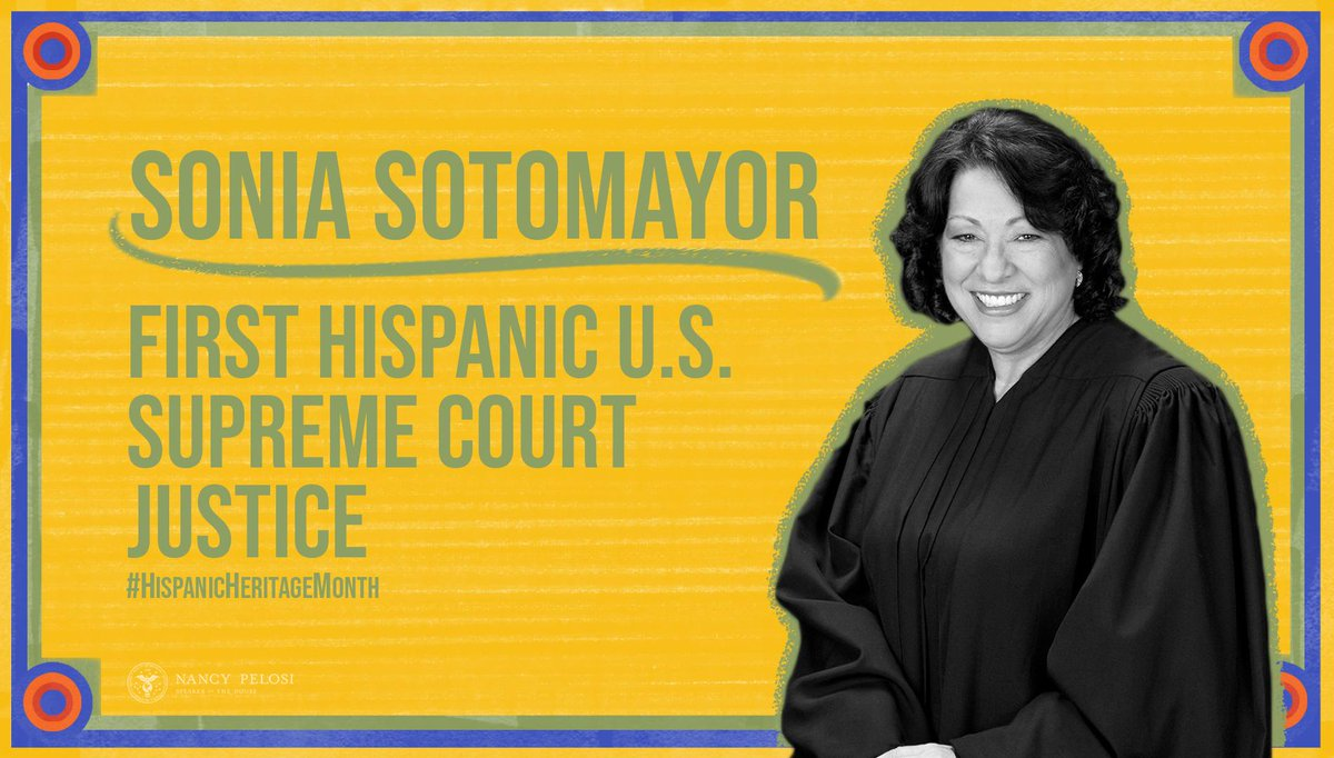 """Born in The Bronx, NYC to Puerto Rican parents, Justice Sotomayor decided to become a lawyer while watching """"Perry Mason"""" at age 10. And we couldn't be more thankful that she did. She is truly an inspiration — and an invaluable voice on the court! #HispanicHeritageMonth"""
