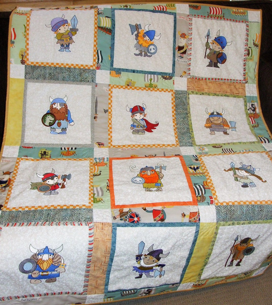 How adorable is this quilt Marilyn made using our Vikings colletion?  https://www.bunnycup.com/embroidery-design-vikings …  #bunnycup #bunnycupembroidery #stitchtheworldabetterplace #embroidery #embroiderydesigns #machineembroidery #quilt #quilts #vikings #vikingsquilt #lindyloukidsworld