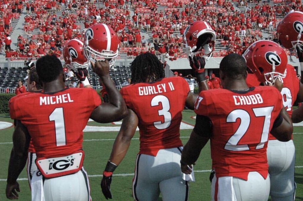These three Dawgs all scored @NFL touchdowns this week. #RBU @TG3II @Flyguy2stackz @NickChubb21