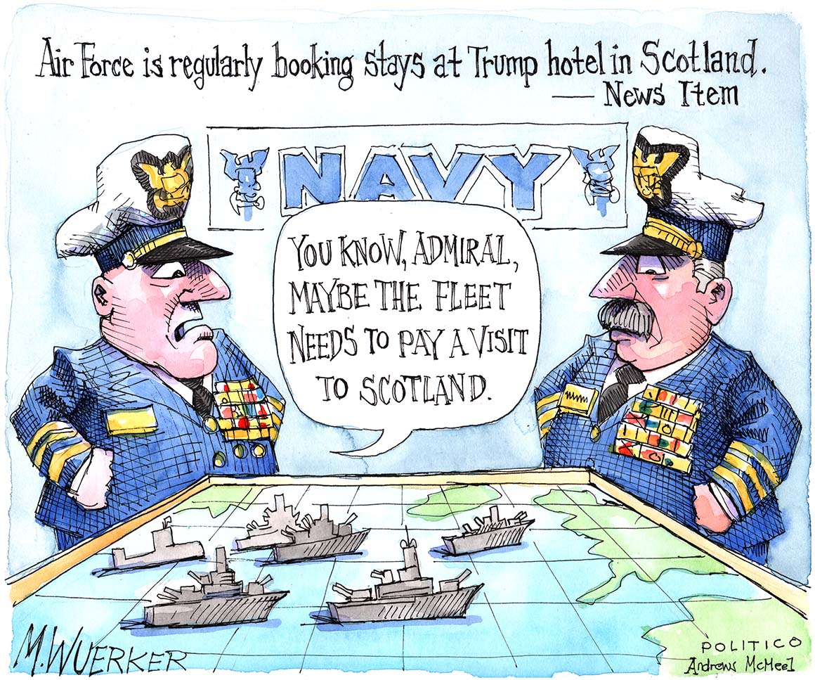 With the Air Force booking regular stays at the Trump hotel in Scotland, POLITICO cartoonist Matt Wuerker takes a look at which branch could be next. More toons 👉politi.co/2An2ssS
