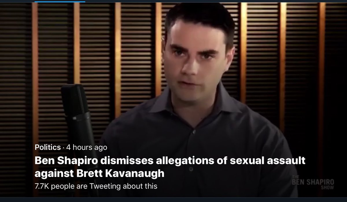 I thought this headline meant that Ben Shapiro had been accused of sexually assaulting Kavanaugh.