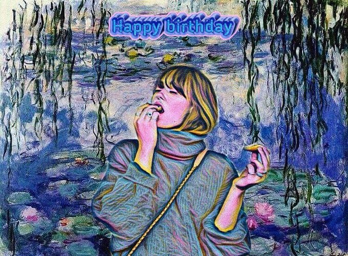 Happy birthday to  !  Celebrating her birthday with this edit, Ella Purnell on Monet\s Water Lilies