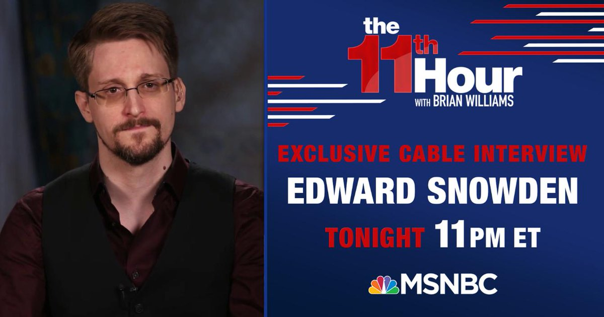 """Day 970: Trump says America is Locked and loaded and Edward Snowden says Trump is """"easy to understand.""""  Here tonight:  @TimOBrien  @theabstoddard  @harrylitman @mccaffreyr3  #JeremyNoTwitterBash  Oh, and Edward @Snowden.  #11MSNBC  #11thHour https://t.co/sPzUladPtg"""