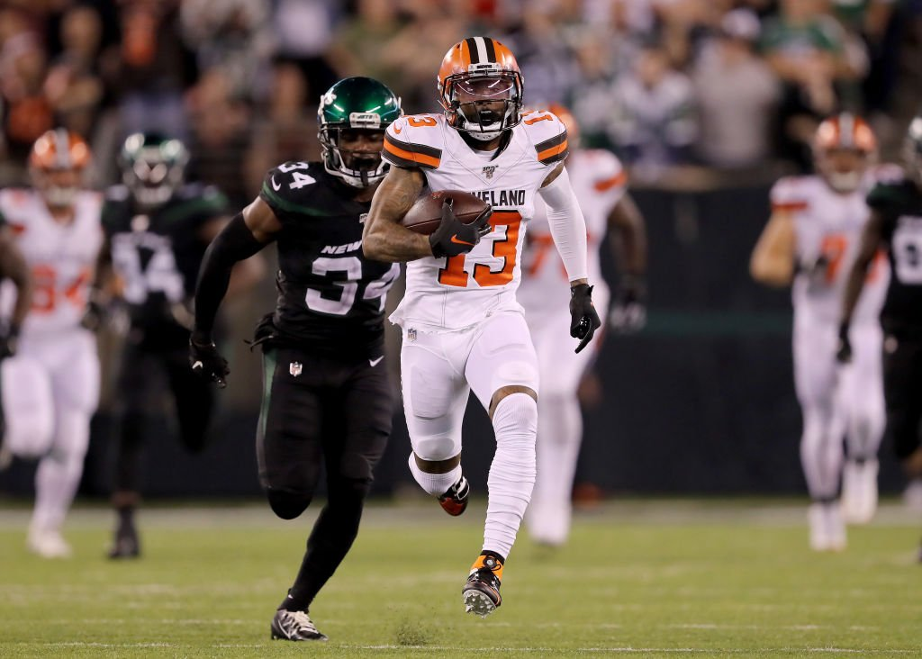 Odell Beckham Jr. outgained the entire Jets WR group tonight:Odell Beckham Jr. vs Jets WR             Beckham Jr.       Jets WRRec        6                        10Yds        161                    125TD         1                         0