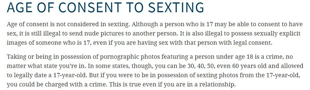 @KitKat1999_1999 @itspettyrose @Onision Age of consent does not apply to sending photos and texts. Sorry. Its illegal in all 50 states.
