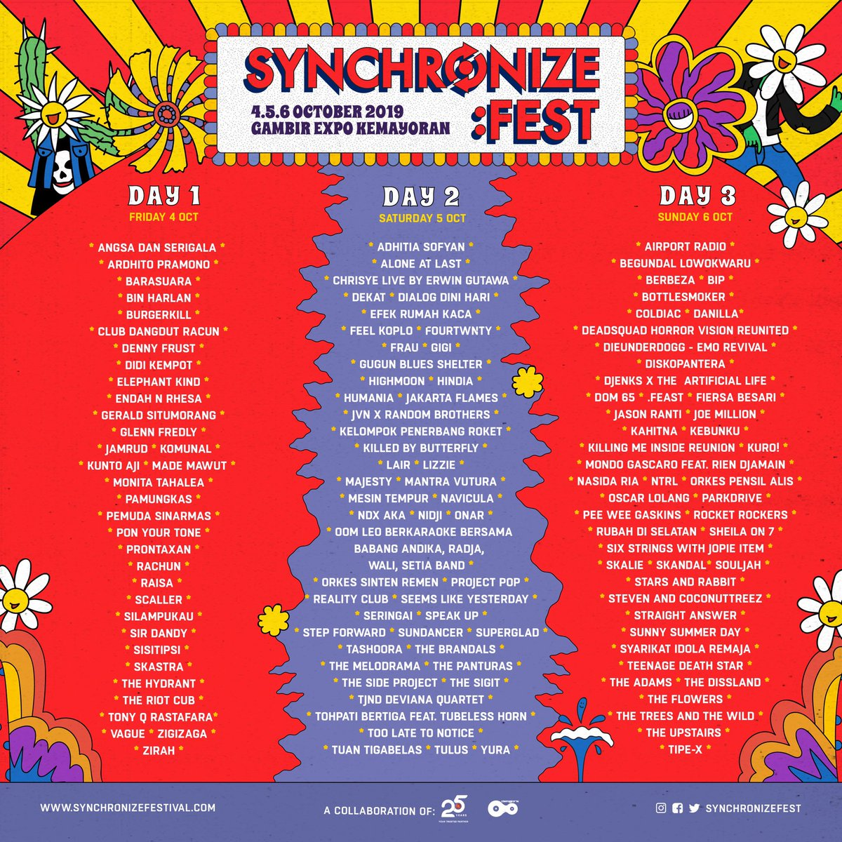 .@SynchronizeFest yang akan dihelat tanggal 4, 5, dan 6 Oktober 2019 di Gambir Expo Kemayoran, Jakarta hadirkan 129 nama artis. Untuk mendapatkan tiketnya, kalian bisa langsung mengunjungi website resmi mereka. Tag teman-teman kamu! 🕺🏻✨ #billboardid #synchronizefest https://t.co/D8H6yjDf3O