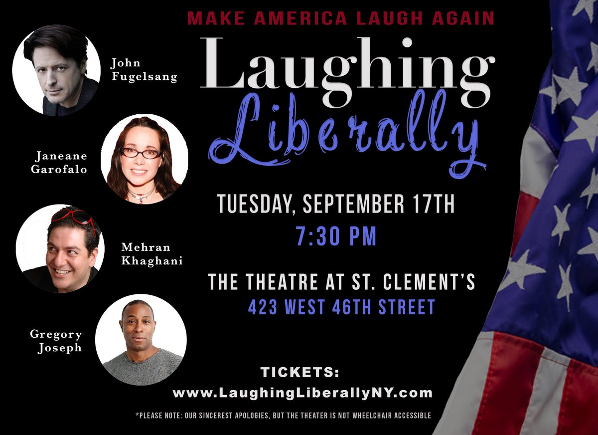 Tomorrow night's Laughing Liberally Off Broadway lineup welcomes Janeane Garafalo.