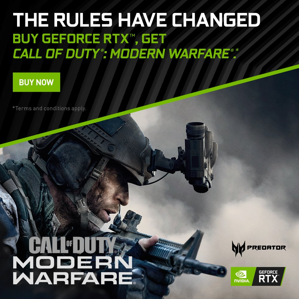 Buy any qualified Predator laptops such as Helios 300, Helios 700, Triton 500, and Triton 900 with GeForce RTX 2060 & 2080 Ti Graphics Card and get Call of Duty: Modern Warfare in your hands. Promo runs until Nov. 18, 2019. Redemption period ends on Dec.18, 2019.#RTXOn