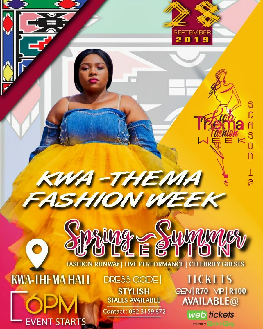 Ready to get some fashion ideas for your spring & summer dress codes? Get yourself a ticket to the local & vibrant fashion show exposing local talent today! #localtalents #springfashion2019 #summerfashion2019 #fashiondesigners #kwathema #ekurhuleni #springsummercollectionpic.twitter.com/TiM5P38Akg