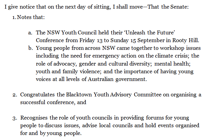 The Senate just passed my motion congratulating the Blacktown Youth Advisory Committee on their successful Unlease the Future conference that I had the pleasure of participating in last weekend! #auspol