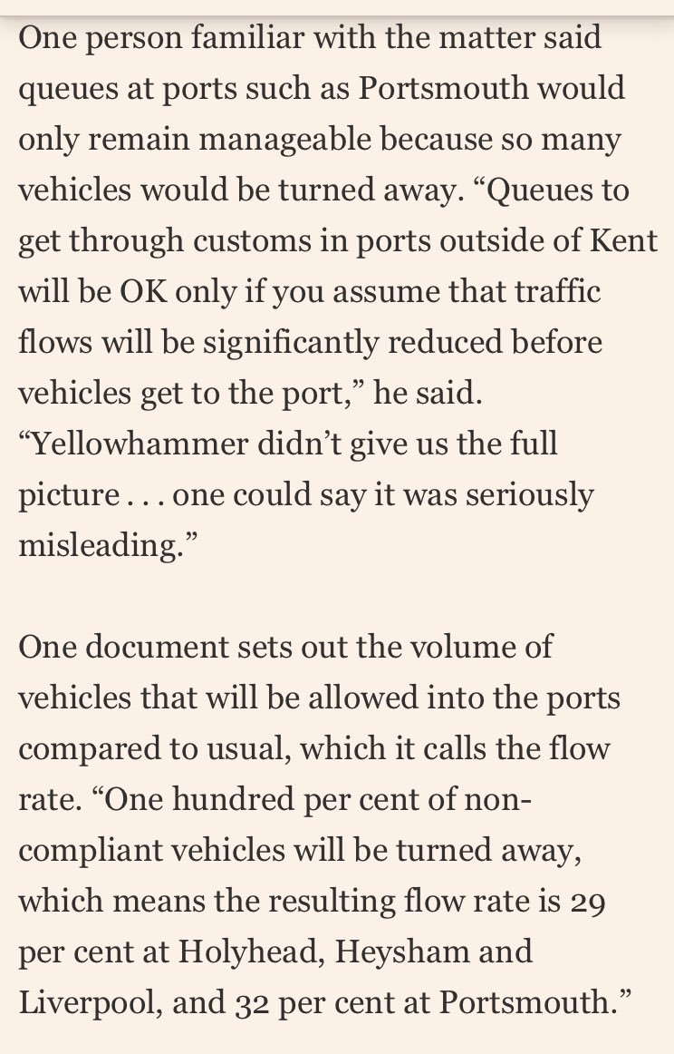"Operation Yellowhammer paper claimed ""low risk of significant sustained queues at ports outside of Kent"" under No Deal: But I've been leaked DFT documents that show this is only because thousands of vehicles would be turned away for being ""non-compliant"" ft.com/content/0a37d1…"