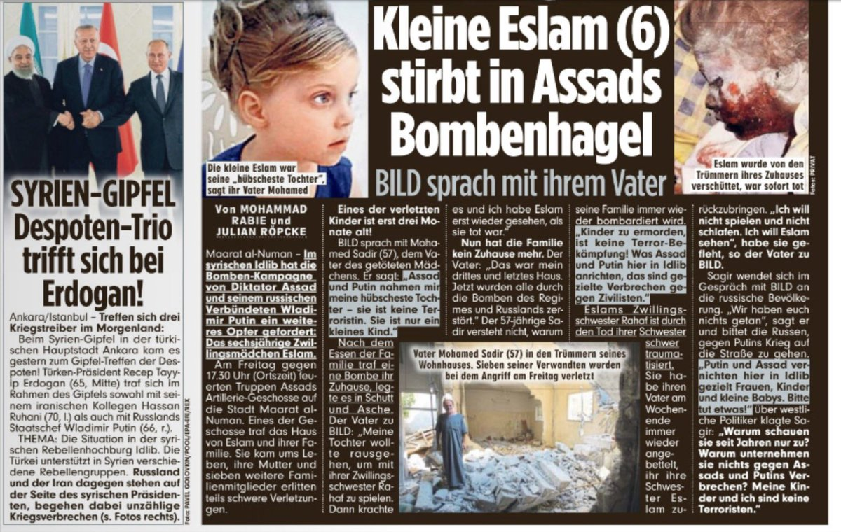 Page 2 of our printed newspaper today. Still caring about #Idlib and the warcrimes, Assad and Putin are committing there. R.I.P., little Eslam. <br>http://pic.twitter.com/lPA8VHRQEG