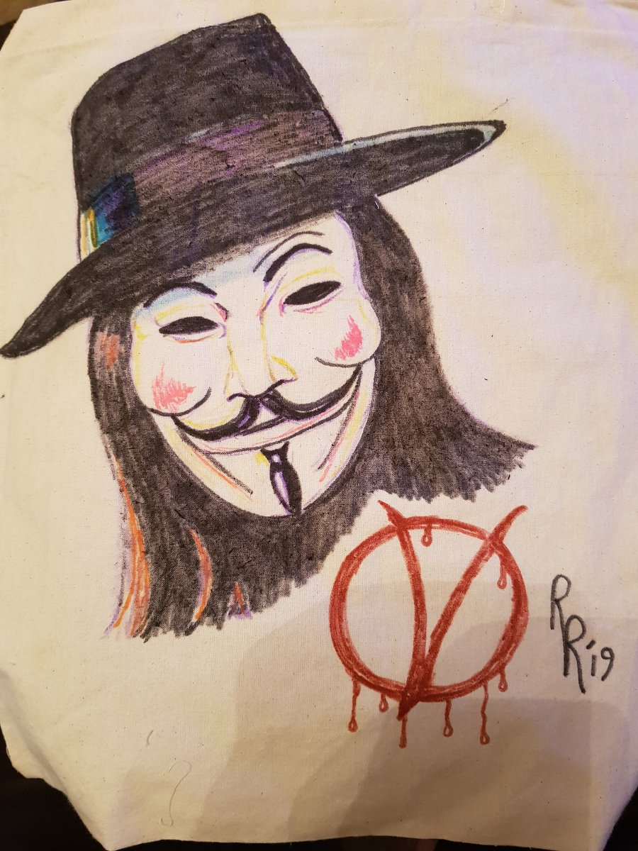 V for Vendetta bag done. Going to keep this for my art materials. It's a resistance symbol 👍👍👊👊