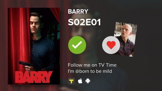 I've just watched S02E01 of Barry#barry  #tvtime https://tvtime.com/r/1auZ6