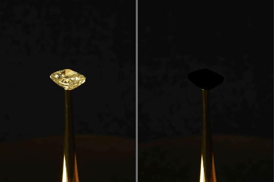 【偶然見つかる】光の99.995%を吸収する素材が発見され「黒さの世界記録」を更新これまで世界一黒い素材であるとされていた「ベンタブラック」よりもさらに10倍も黒いという。