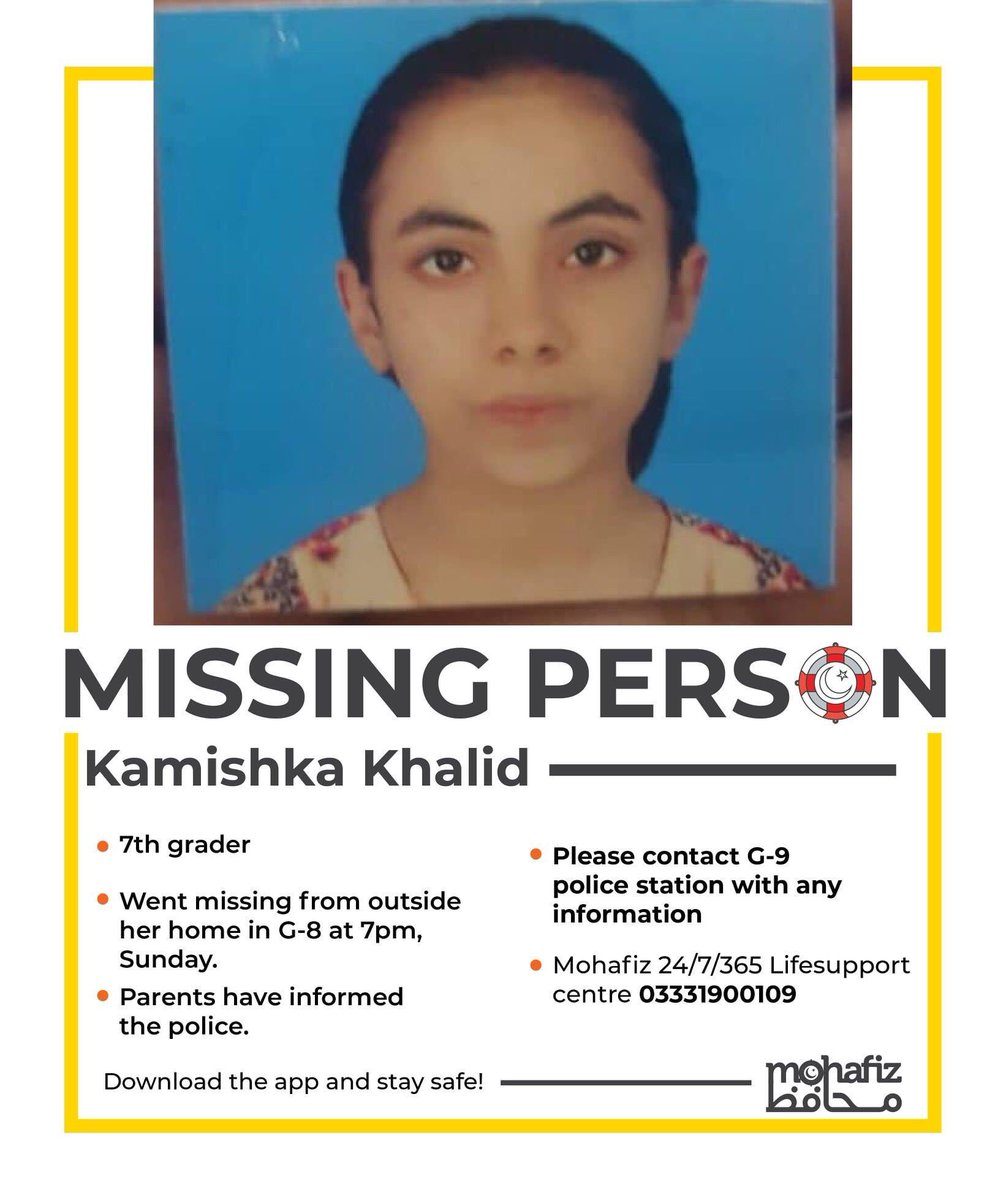 Please help spread the word. May she return home safely to her family. This is heart shattering. #MissingPerson #Islamabad<br>http://pic.twitter.com/9CyAYEpWoo