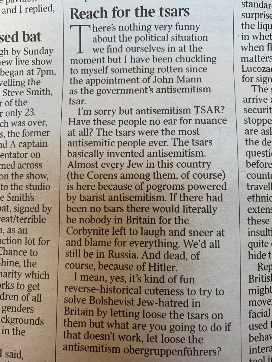 """Giles Coren makes an excellent point about what a silly new title John Mann has - """"anti-semitism tsar"""", when the tsars were the most anti-semitic of rulers"""
